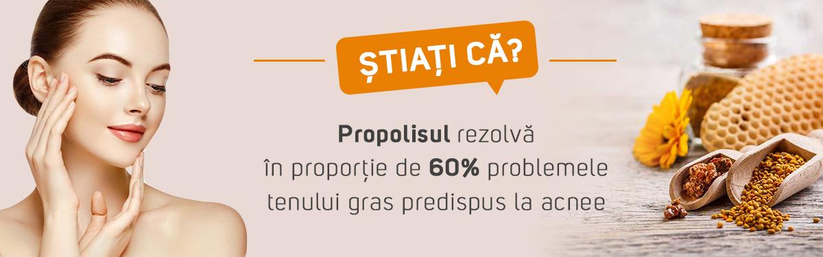 Știați că? Propolisul rezolvă în proporție de 60% problemele tenului gras predispus la acnee?